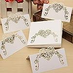 ToyMyToy Lot de 50 cartes marque-places pour mariage, avec cœur blanc #4