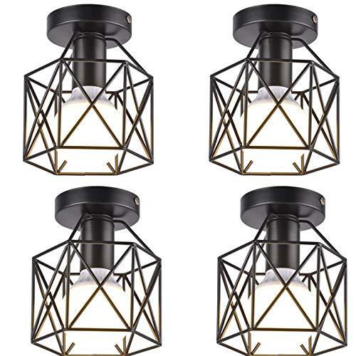 YZQ Paquete de 4 Accesorios de iluminación de Techo industriales Semi empotrados, Luces de Jaula de Techo de Granja Retro Vintage E27, lámpara de Techo rústica de Metal Negro para Pasillo, Escalera