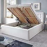 Luxus Polsterbett mit Bettkasten Molly XXL Kunslederbett Doppelbett Ehebett Weiß