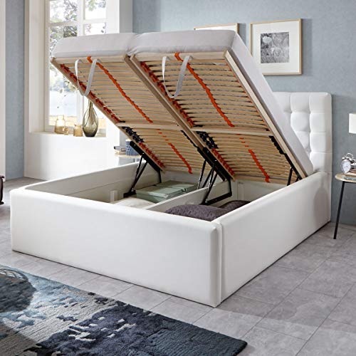 Polsterbett mit Bettkasten Molly XXL Kunslederbett Doppelbett Ehebett Weiß (160 x 200 cm)