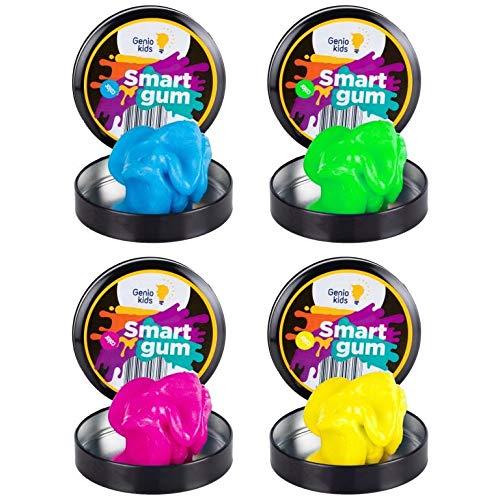 GenioKids Smart Gum 4 Stück/ 4 Farben/ 200g Intelligente Knete Magische Dough Set für Kinder Leuchtet im Dunkeln (rosa, gelb, blau, grün)