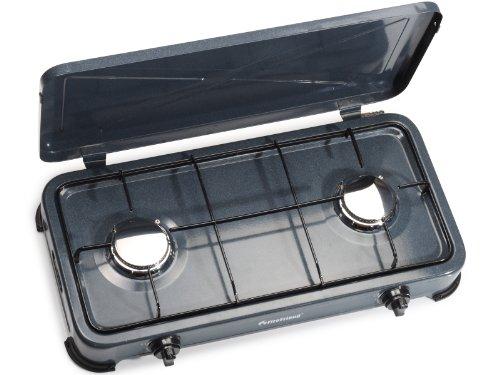 Cuisinière à gaz FireFriend KO-6582 – Sécurité thermique – 2 brûleurs – 2 x 1 500 W – Gris