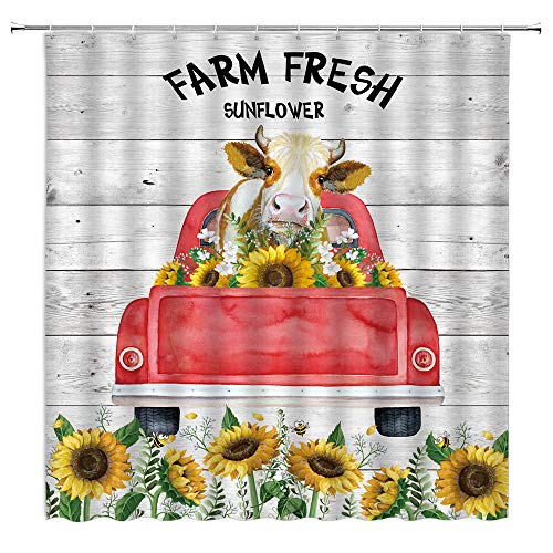 Farmhouse Kuh Duschvorhang Sonnenblume Bauernhof Tier Aquarell Rinder Retro Rot LKW auf rustikalem Holzbrett Kreativ Frühling Gelb Blumen Pflanze Badezimmer Gardinen Dekor Stoff 178 x 178 cm mit Haken