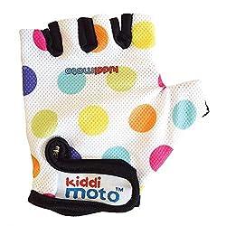 KIDDIMOTO Kinder Fahrradhandschuhe Fingerlose für Jungen und Mädchen/Fahrrad Handschuhe/Bike Kinder Handschuhe - Pastellpunkte - M (4-8y)