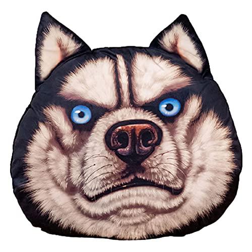 SUNSER Almohada De Juguete De Peluche Erha, Forma Husky, Almohada De La Cabeza del Perro De Simulación 3D, con Manta, Decoración del Hogar,Domineering