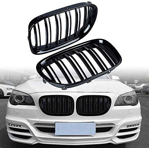 Parrilla Delantera para BMW F01 F02 7-Series 730d 740i 750i 2009-2017 Parrillas de Rejilla Frontal de Doble línea de riñón Deportivo de Doble listón Negro Brillante - Par