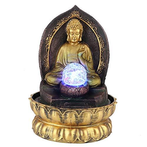 Fontana da Tavolo Meditando Buddha Zen Fontana d'Acqua Rilassante con Luce a LED per Cortile Giardino Patio Camera da Letto Decorazione Desktop da Ufficio(EU-220V)