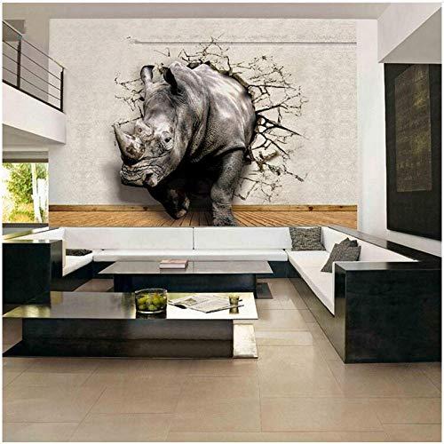 Lovemq 3D Lebensechte Tier Wandbild Tapete Angepasst Nashorn Löwe Elefanten Vlies Stoff Wandbild Neue Fototapete Wohnkultur-290X190Cm