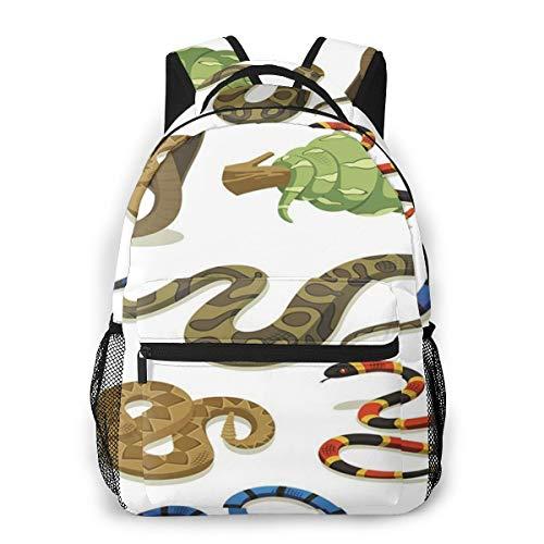 Rucksack Männer Und Damen, Laptop Rucksäcke für 14 Zoll Notebook, Anaconda Giftig Kinderrucksack Schulrucksack Daypack für Herren Frauen
