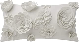 King Rose 3D Flower Pillow Cover Decorative Pillowcase Handmade Cushion Cover Sofa Couch Bed Living Room 12 x 20 Inches White