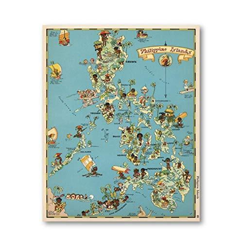 Non-branded artaslf 30er Jahre Philippinen Inseln Wunderliche Karte Leinwand Druck Spaß Bild Karte Vintage Poster Wandkunst Gemälde Home Room Decor- 50x70cm ungerahmt