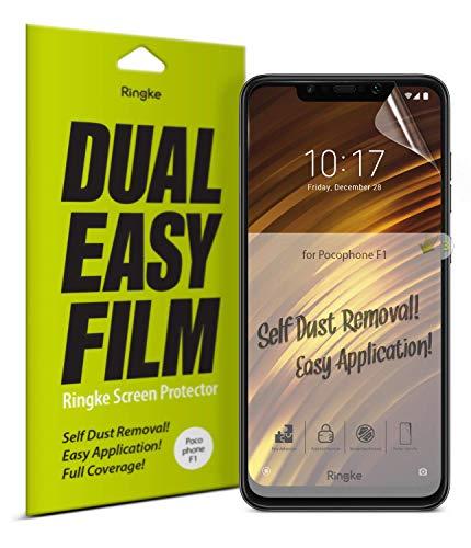 Ringke Doble Fácil de Cobertura Total [2 Pack] Protector de Pantalla Compatible con Xiaomi Pocophone F1, Alta Resolución [Anti-Manchas Recubrimiento] Funda Compatible Protector Pantalla