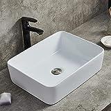 Ufaucet Modern Porcelain Above Counter White Ceramic Bathroom Vessel Sink,Art Basin Wash Basin for Lavatory Vanity Cabinet