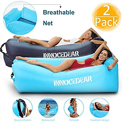 INNOCEDEAR 2 Pack Inflatable Lounger Air Sofa Hammock,Inflatable Couch Air Chair?Camping Accessories?Waterproof Anti-Air Leaking for Outdoor Backyard Beach Traveling Picnics & Music Festivals