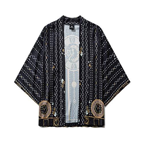 Meilily Damen Kimono Cardigan Herren Japanischer Stil Strickjacke 3/4 Ärmel Kurz Sommer Schwarz Weisse Jacke Übergangsjacke Mäntel Strand Cover Bikini Bluse Robe Blouse Beachwear Baggy Tops Blazer