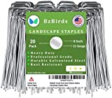 BzBirds USA Made 6 inch 11 Gauge Garden Landscape Staples Galvanized SOD Pins Lawn Stakes for Weed Barrier Fabric, Ground Cover, Holding Fence and Artificial Turf