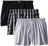 Calvin Klein Men's Cotton Classics Multipack Woven Boxers, Montague Stripe/Black/Morgan Plaid, Large