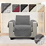 Mary Maxim Reversible Chair or Recliner Cover - Quilted Recliner Slipcover & Furniture Protector for Dogs, Cats, Pets, Kids - Side Pockets, Elastic Strap & Water Resistant