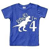 rawr im 4 Year Old boy Shirt Roar 4th Birthday Shirt boy Four Dinosaur Tshirt (Charcoal Blue, 4T)