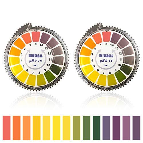 Bornfeel pH Indicatore Strisce 2 Rotoli pH Test Strips Cartina Tornasole Gamma Completa 0 – 14 Rotolo di Carta Tornasole per Urine Saliva Alcalina Cura Terreno 5 Metri