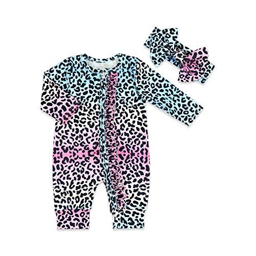 No/Brand recién nacido bebé niñas de una sola pieza mamelucos pijama mono con diadema, ropa de bebé - azul - 9-12 meses