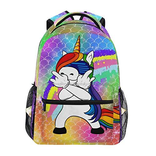 Mochila de Viaje con diseño de Unicornio y Escamas de arcoíris, Mochila de Viaje para portátil, Mochila Informal para Viajes/colegios/Trabajo