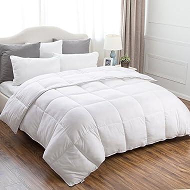 Bedsure King Comforter Duvet Insert Corner Ties-Quilted Down Alternative Comforter Box Stitching Design White 102 x90