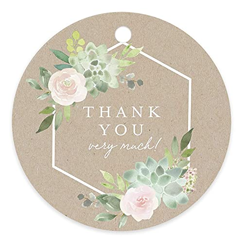 Bliss Collections Printed Kraft Succulent Round Favor Thank You Tags, Perfect for: Wedding Favors, Baby Shower, Bridal Shower, Birthday or Special Event — 50 Pack