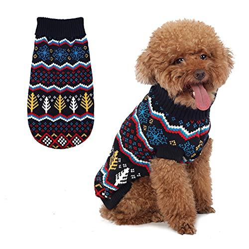 Hundepullover Classic Schneeflocke Pullover Sweater Rollkragen Warme Strickwaren Haustier Winter Kleidung für kleine Hunde und Katzen