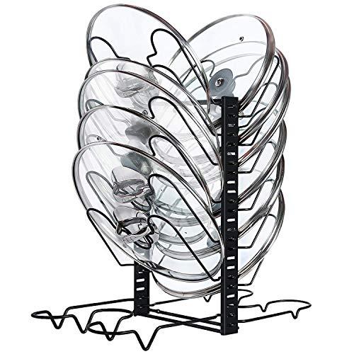 X-cosrack Estantes y Soportes Para Ollas y Sartenes Organizador De Tapas De Ollas con12 separadores de altura ajustable Para Los Armarios De Cocina , 4 métodos, negro