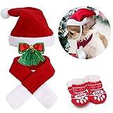 Nuoshen Juego de 7 piezas de disfraz de Navidad para perros de gato rojo, ajustable, lindo gorro de Papá Noel con bufanda, collares de corbata, calcetines para gato pequeño y perro dulce regalo