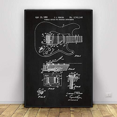 MXmama Leinwand Malerei Fender Stratocaster Gitarre Wandkunst Poster Druck Malvorlage Wohnzimmer Wohnkultur -50X70cm 20x28 Zoll ohne Rahmen