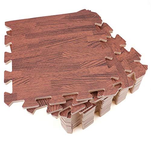 Tebery 16 alfombrillas de espuma EVA entrelazadas con efecto de suelo de madera clara y oscura, para gimnasio, juegos en casa, entrenamiento, 10 mm (30,5 x 30,5 cm) (madera oscura)