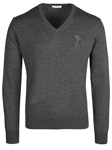 Versace Collection Gray V-Neck Wool Sweater (XL)