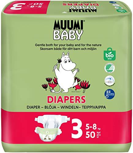 Muumi Baby Öko Windeln Größe 3, 5-8 kg, 50 Empfindliche Premium Windeln