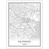 HONG Drucke Leinwand, Haiphong Vietnam Stadtplan Gemälde