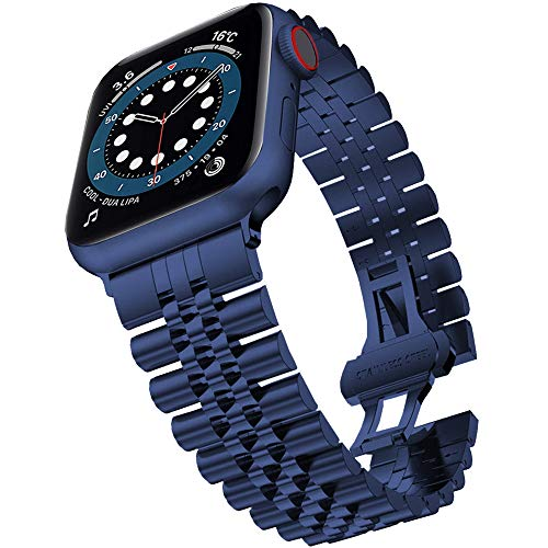 Miimall Compatibile con Apple Watch Series 6/SE/5/4/3/2/1 44 mm 42 mm, cinturino di ricambio in acciaio inox con chiusura a farfalla iWatch per Apple Watch 44 mm 42 mm – Blu