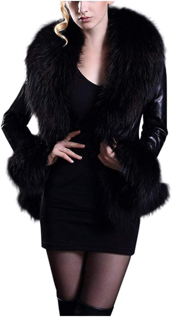 Misaky Women's Winter Faux Fur Coat Outdoor Plus Size Long Sleeve Open Front Thick Warm Cropped Jacket Outwear