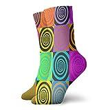 Calcetines, psicodélicos espirales en estilo cómico, calcetines deportivos casuales de poliéster, calcetines de tubo de tripulación de 11.8 pulgadas para hombre y mujer