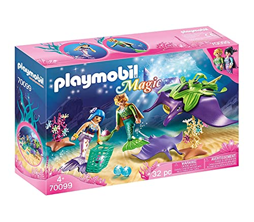 PLAYMOBIL Magic, 70099 Recolectores de Perlas con Manta raya, Para niños a...