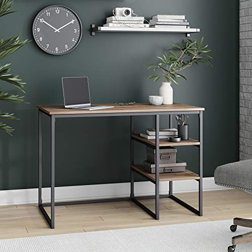 Nathan James Carson Industrial Small Home Office, Computer or Work Desk with 2 Open Storage Shelves, Reclaimed Oak Wood Finish with Metal, Rustic Brown/Black