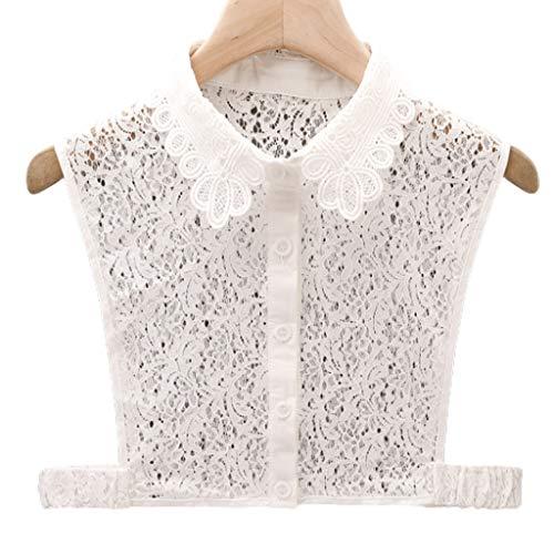 Fugift Mujeres Niñas Desmontable Mitad Camisa Dickey Blusa Hueco Floral Encaje Elegante Collar Falso Otoño Suéter Decorativo Accesorio Desmontable Media Camisa Dickey