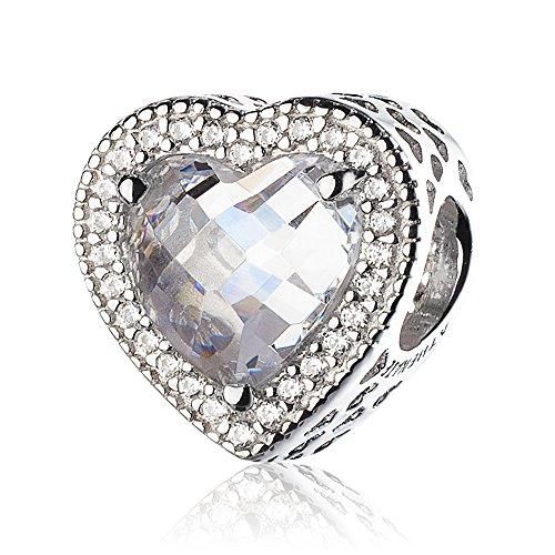 ATHENAIE 925 sterling silver plåster kristall & klar CZ lysande hjärta pärla charm e silver, colore: Vit, cod. PAV77