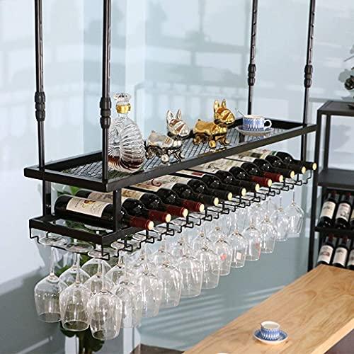 AMAFS Industrial 2-Tierwine Racks Hanging Wine Glass Holder Ceiling Wine Rack Stemware Rack Goblets Holder Shelf Champagne Glass Rack Retro Creative Cup Holder for Bars Pub Rack,100Cm Beautiful Home