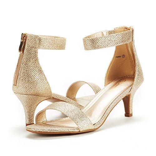 DREAM PAIRS Women's Fiona Gold Glitter Fashion Stilettos Open Toe Pump Heeled Sandals Size 9 B(M) US