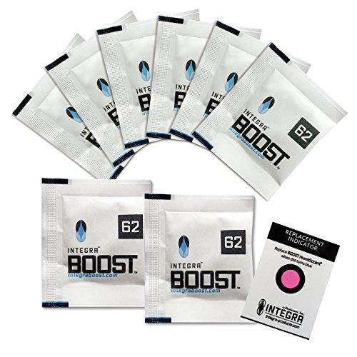 Integra Boost 62% - 8 x 4g Feuchtigkeitsregler I 2-Wege Luftbefeuchter mit Indikator Anzeige - Luftfeuchtigkeit bis 10g I Befeuchtungspäckchen