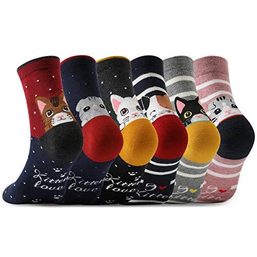 MOCOCITO Calcetines de Mujer, 6 Pares Calcetines Algodón divertidos de Gato Cartoon Gruesos Térmicos,Transpirables para invierno.Ideal para usos diarios,regalo de Navidad, cumpleaños,etc
