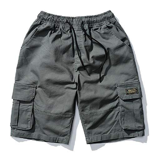 Frühling/Sommer 2020 Einfache Multi-Pocket Arbeitshose 5-Punkt Hosen Trend Casual Shorts Trendige Herren Gr. XL, military green