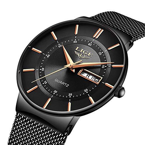 LIGE Herren Uhren Ultra Dünne Schwarze Minimalistische Quartz mit Datumsanzeige