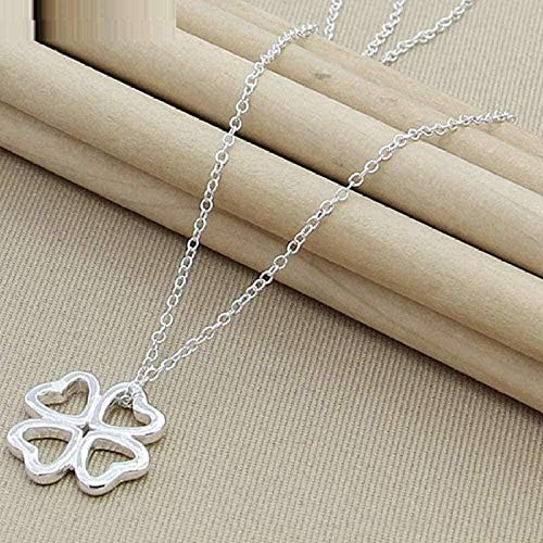 AOAOTOTQ Co.,ltd Necklace Heart-Shaped Four-Leaf Clover Pendant Necklace 18-Inch Chain for Women Wedding Engagement Jewelry